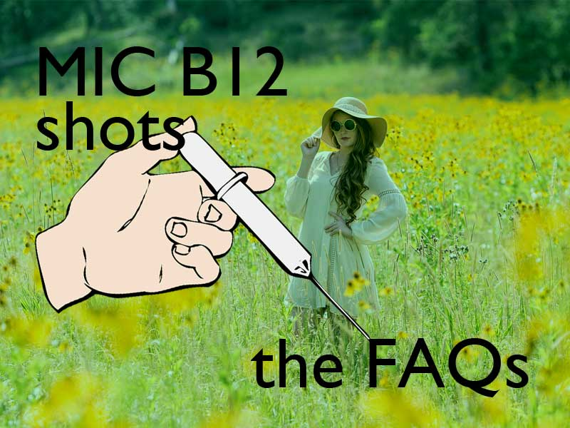 hand giving MIC B12 shot superimposed on a woman in a field
